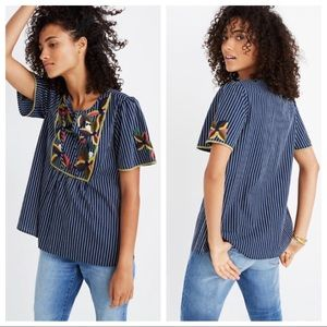 Madewell Embroidered Fable Top Size M